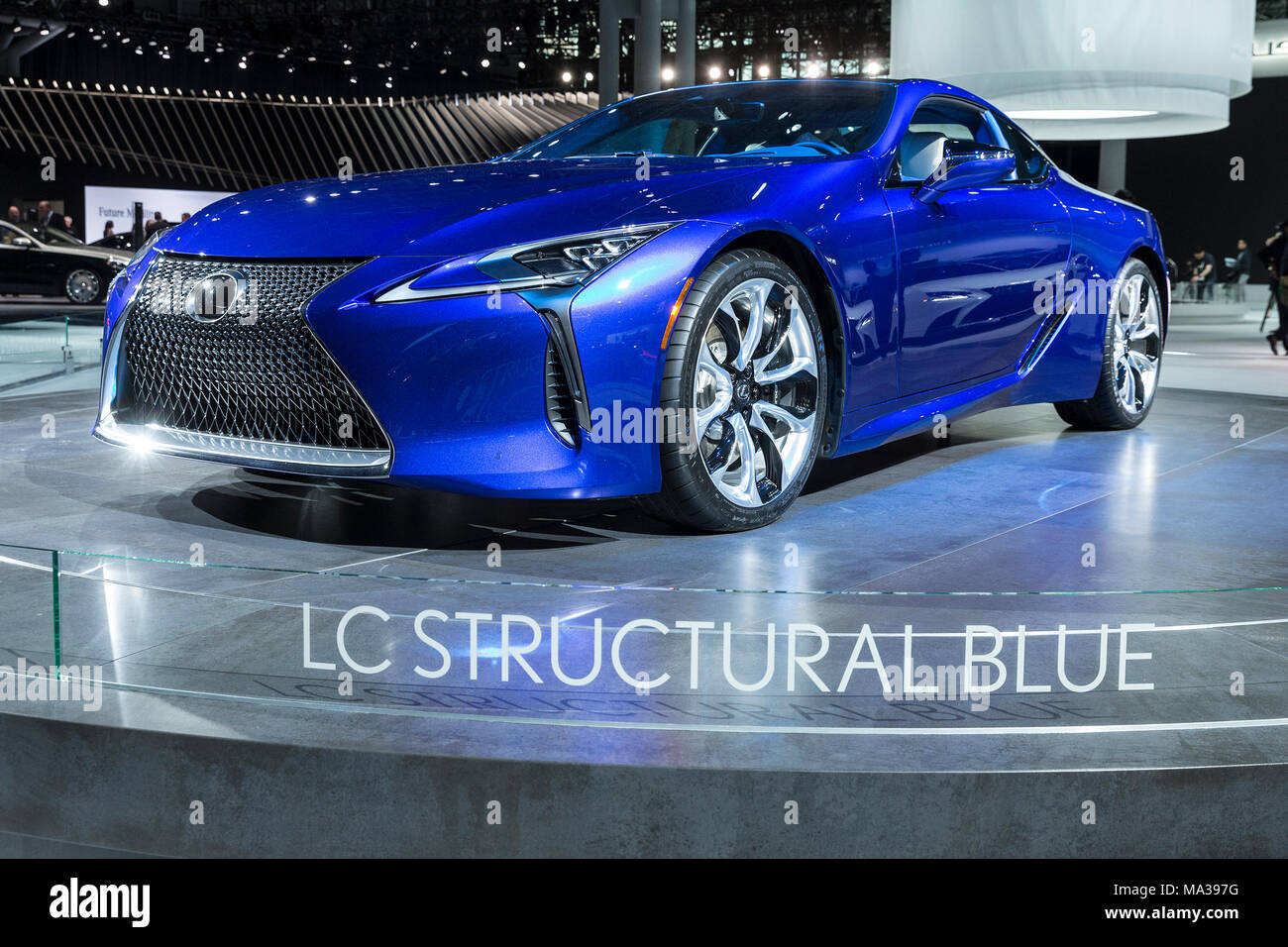 Lexus Lc500 Lc Structural Blue Coupe On Display At 2018 New York