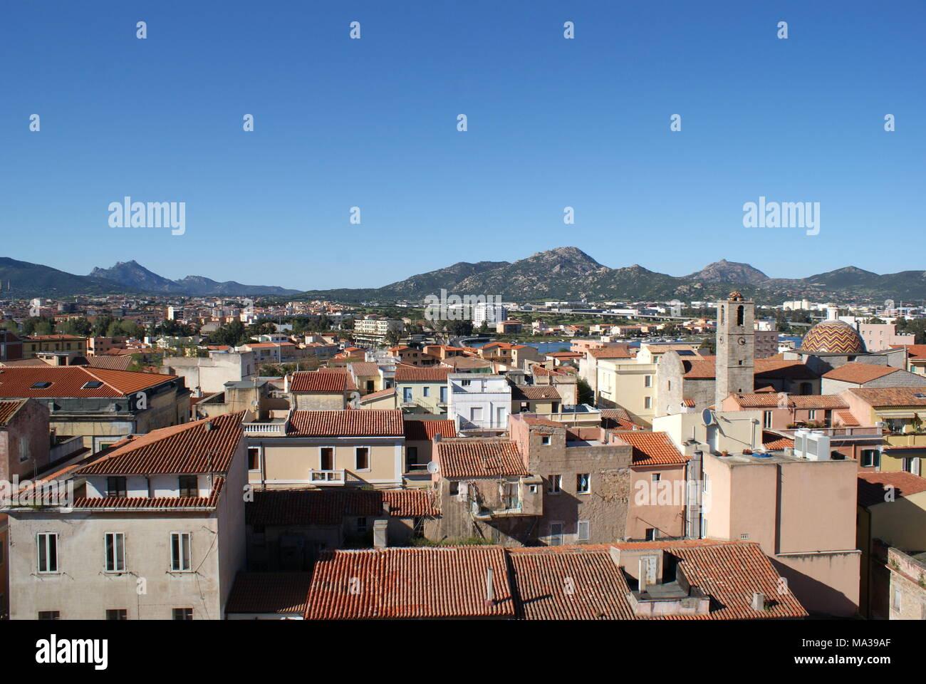 Rooftop view of the city of Olbia, Olbia, Sardinia, Italy - Stock Image