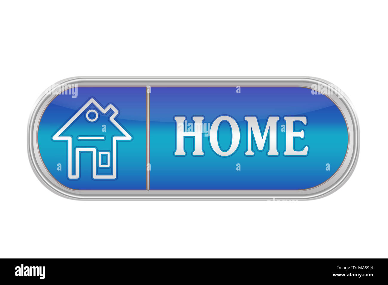Oblong volume button of blue color with the icon and the inscription 'HOME', white background - Stock Image