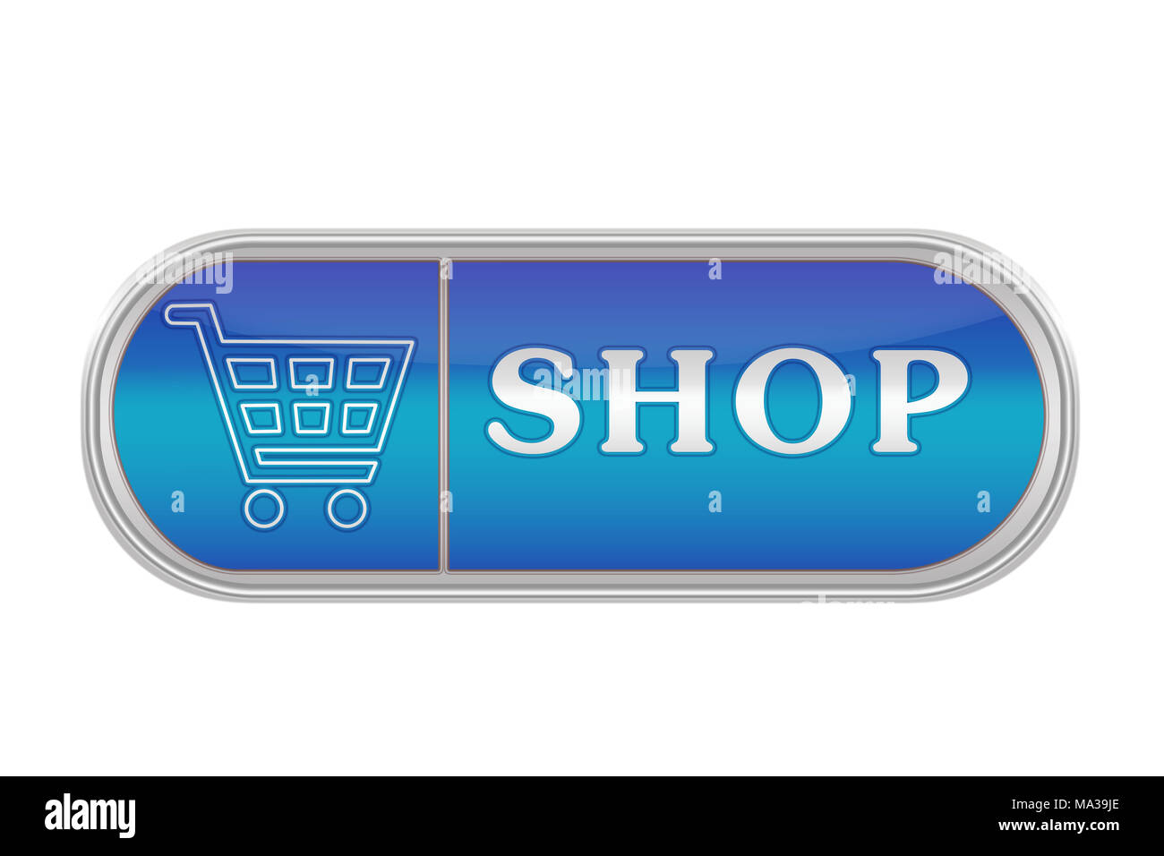 Oblong volume button of blue color with the icon and the inscription 'SHOP', white background - Stock Image