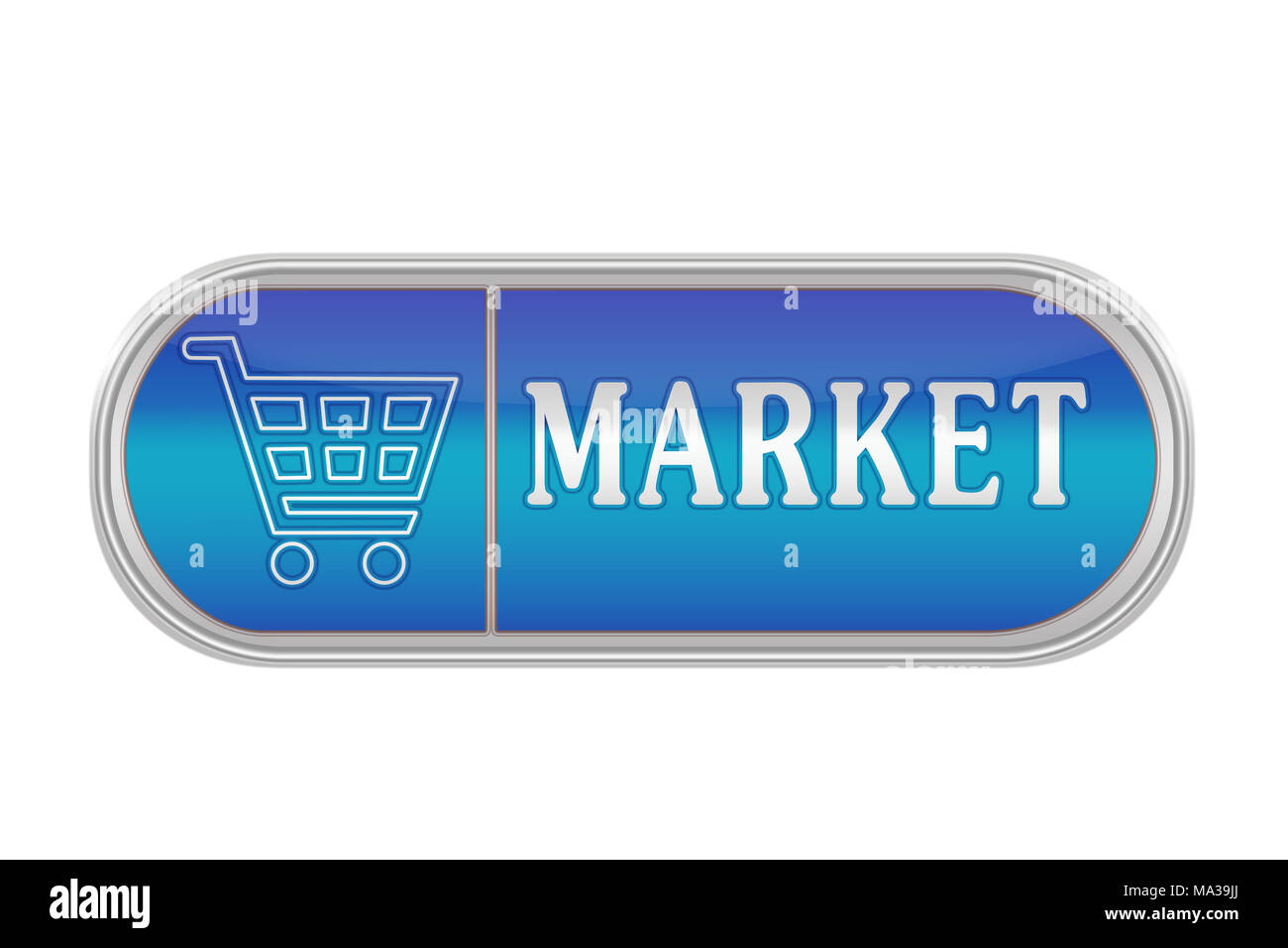 Oblong volume button of blue color with the icon and the inscription 'MARKET', white background - Stock Image