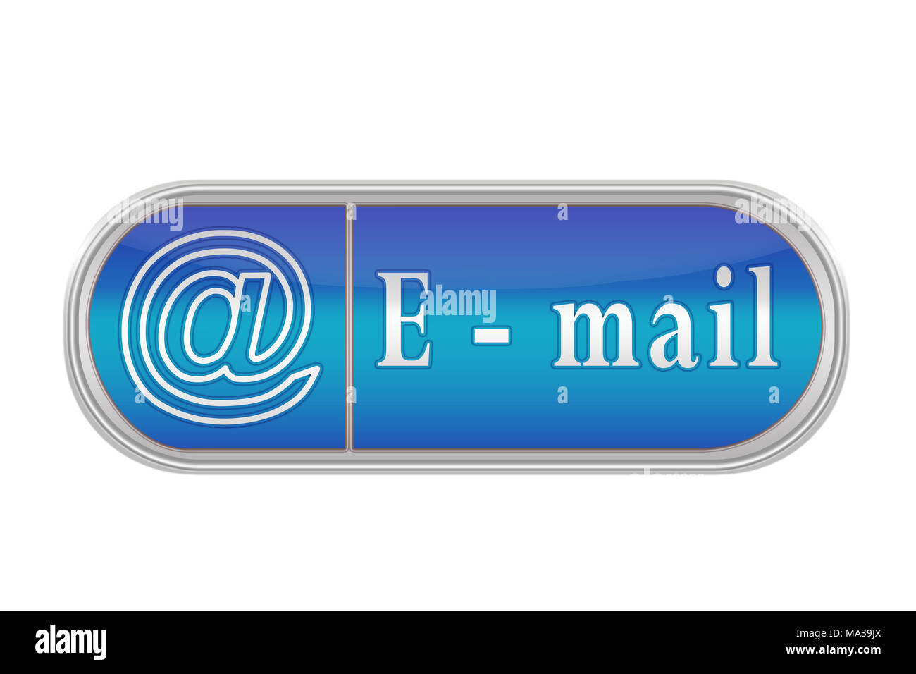 Oblong volume button of blue color with the icon and the inscription 'E-mail', white background - Stock Image