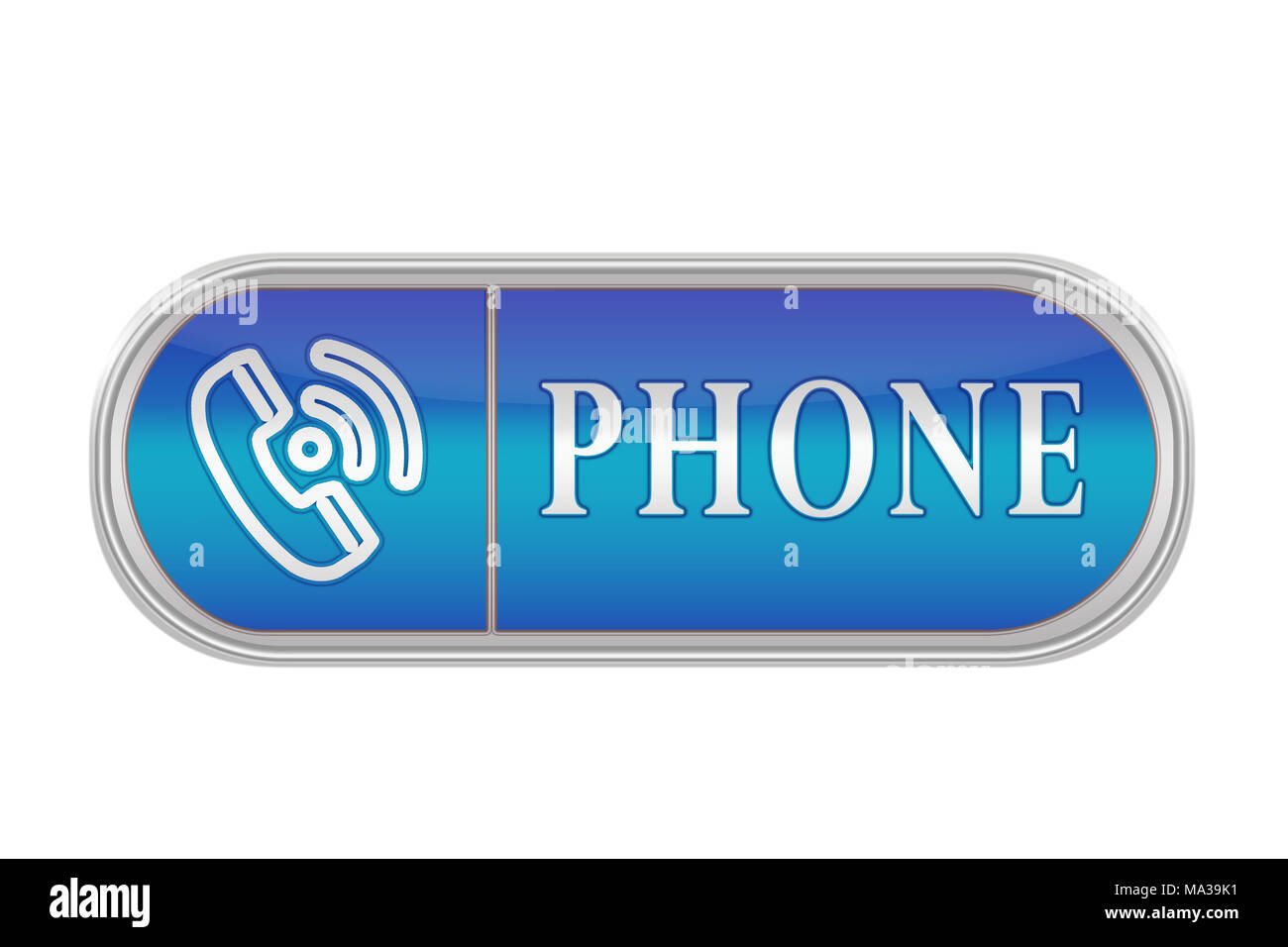Oblong volume button of blue color with the icon and the inscription 'PHONE', white background - Stock Image