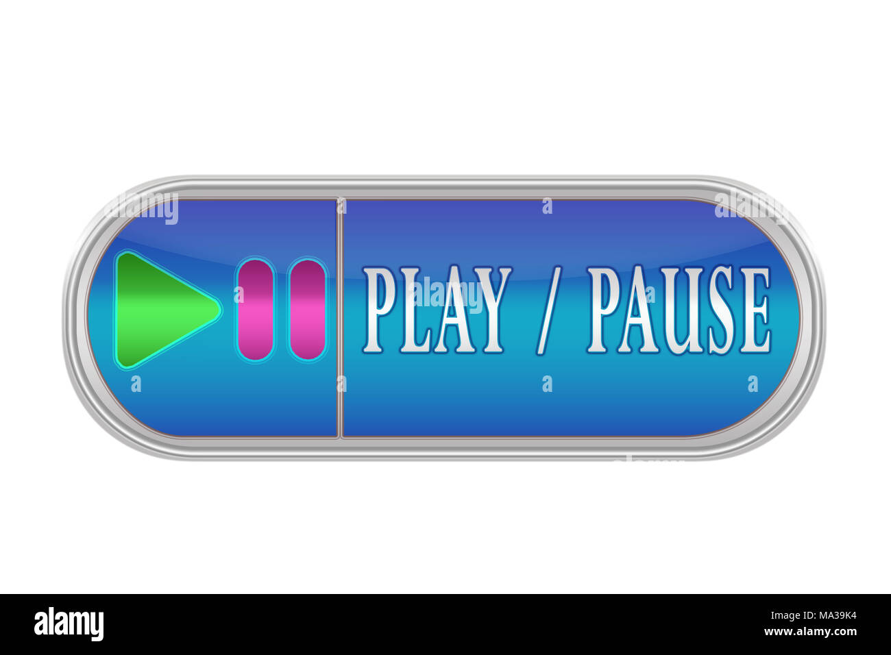 Oblong volume button of blue color with the icon and the inscription 'PLAY, PAUSE', white background - Stock Image