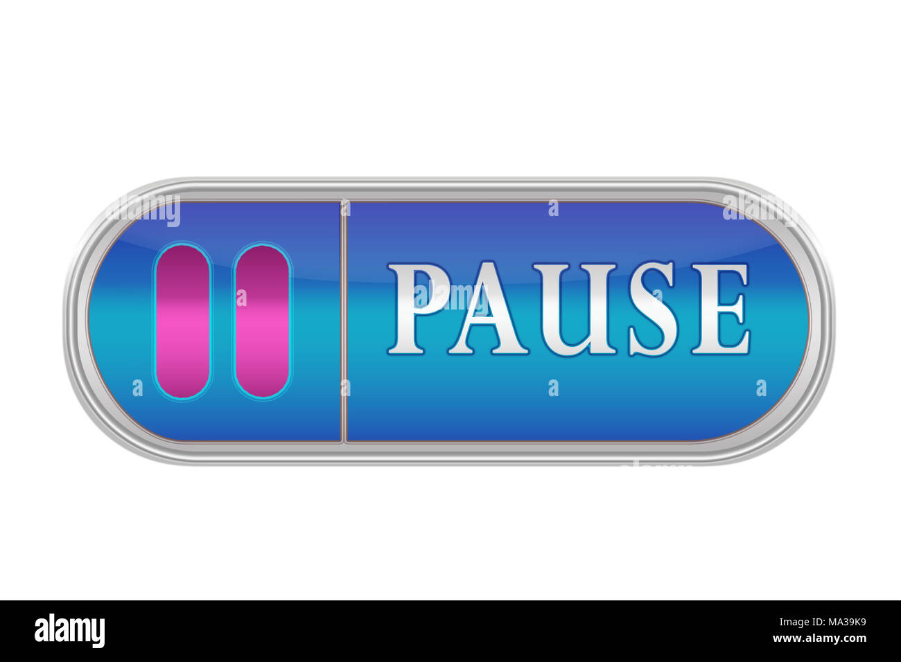 Oblong volume button of blue color with the icon and the inscription 'PAUSE', white background - Stock Image