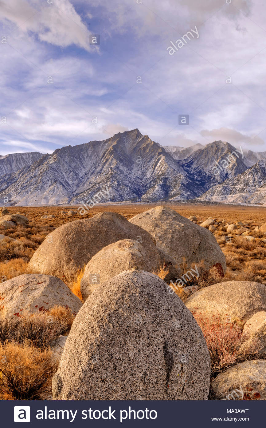 Rocks and Lone Pine Peak at Dawn, BLM Lands, Inyo County, California - Stock Image