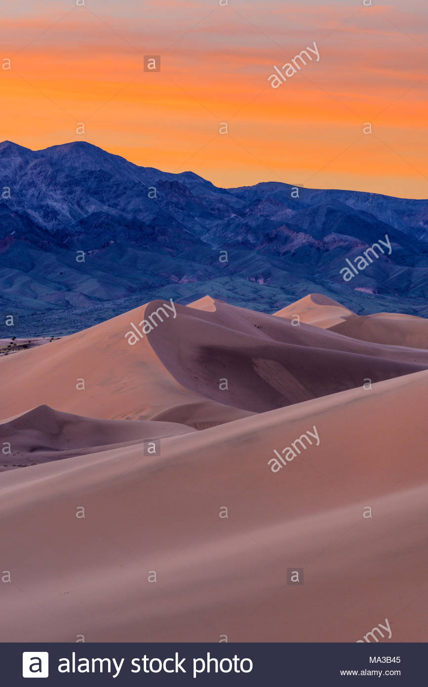 Ibex Dunes at Sunset, Death Valley National Park, California - Stock Image