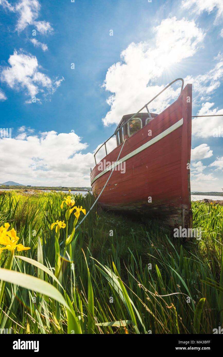 Wooden fishing boat in Roundstone. Co. Galway, Connacht province, Ireland. - Stock Image