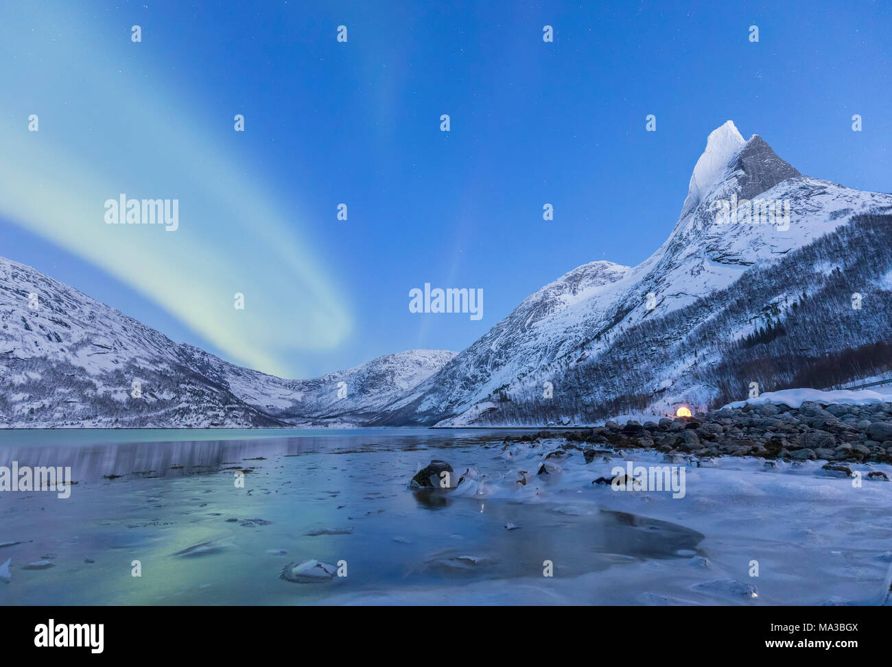 Northern lights over frozen sea in a Tysfjord bay and near the Norway's national mountains granitic snowy peak called Stetind,tysfjord Nordland county Norway Europe - Stock Image