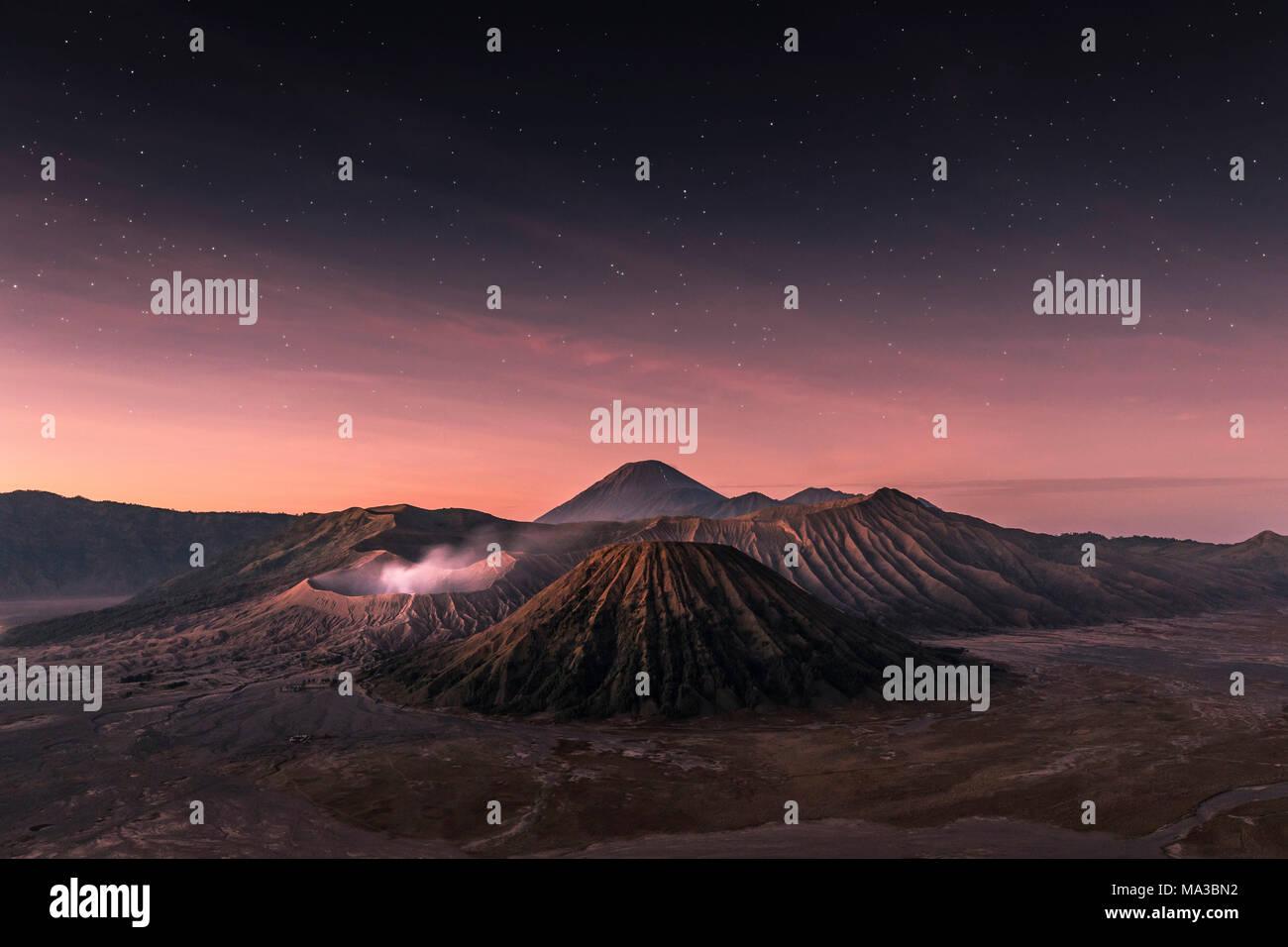 Stars fading before the sunrise in Bromo, Giava island - Stock Image