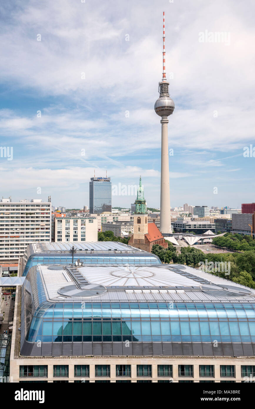 The roofs of DDR Museum and Berliner Fernsehturm tower from Berliner Dom, Berlin, Germany Europe - Stock Image