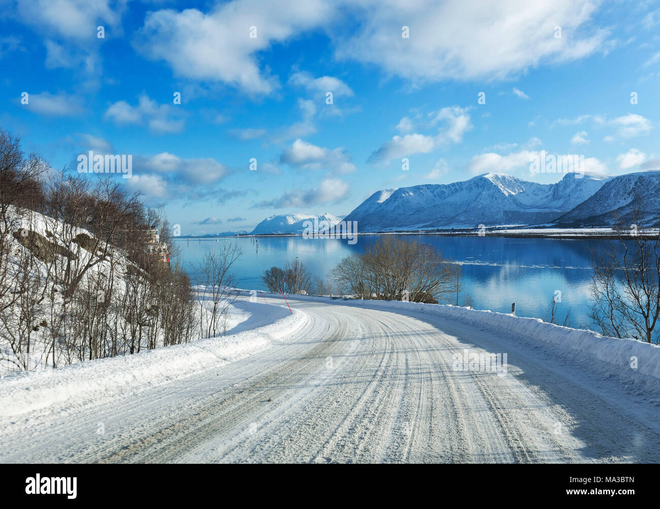 Andoy Road For Andenes In Winter On The Risoysundet Fiord Near Risoyhamn Vesteralen Nordland County Norway Stock Photo Alamy