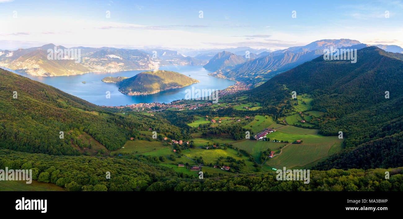 Aerial view from Iseo lake, Iseo lake, Brescia province, Lombardy district, Italy. - Stock Image