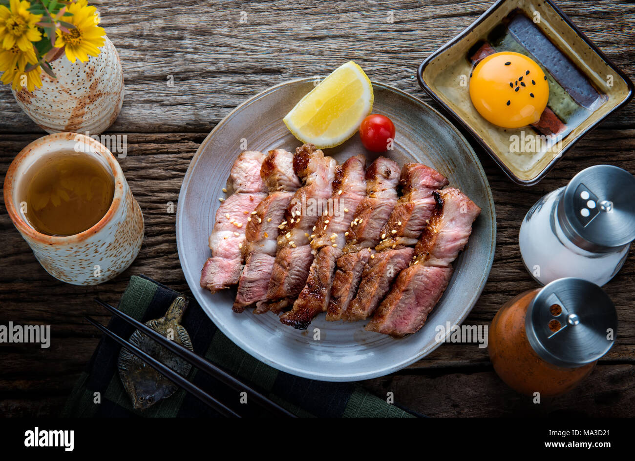 Pork grill or Buta Yaki in Japanese  Pork cooking style slice cut to serve. - Stock Image
