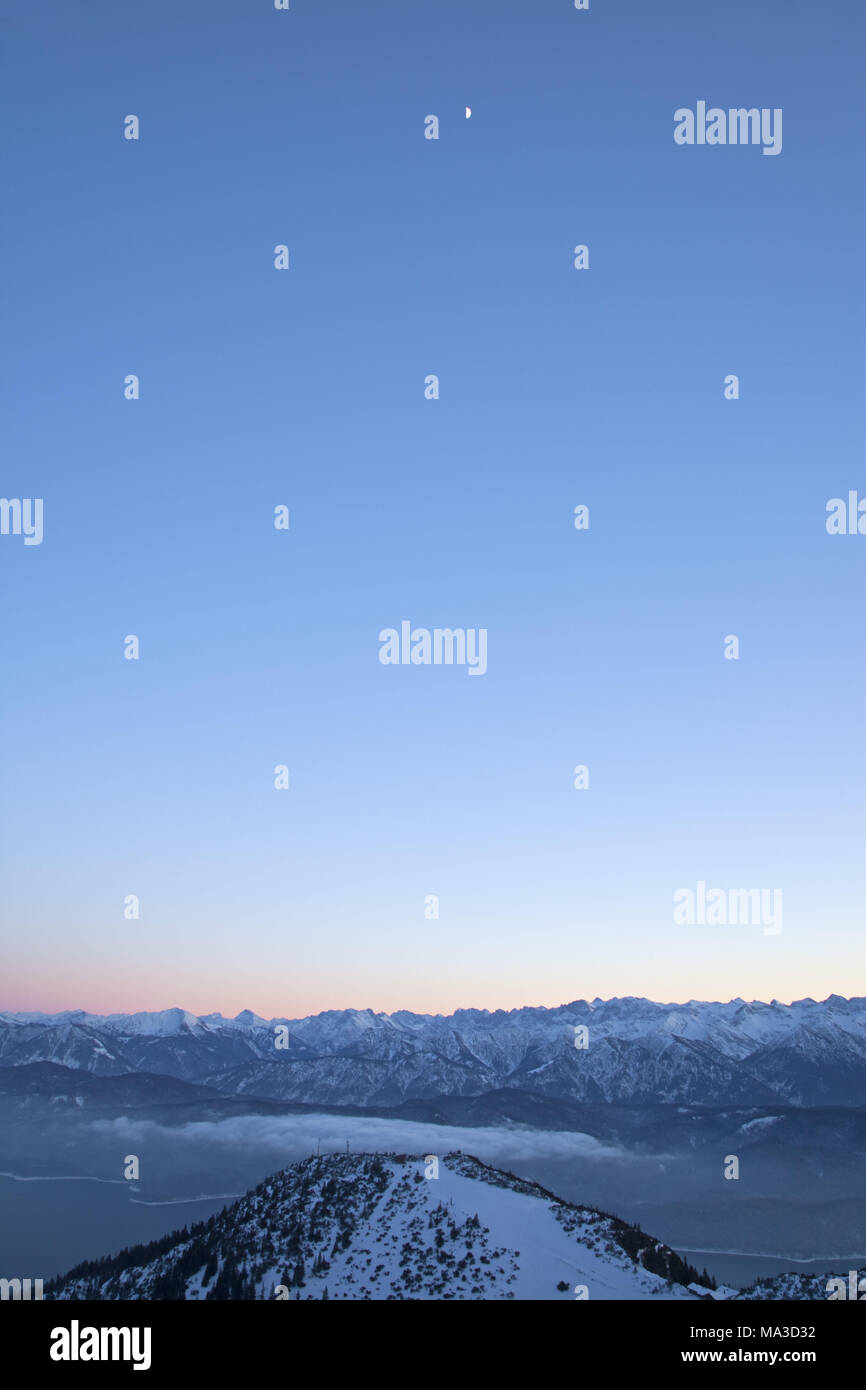 Moon, view from the 'Herzogstand' (mountain), Bavarian pre-alps, alps, Alpine foreland, Bavarian uplands, Upper Bavaria, Bavaria, South Germany, Germany, - Stock Image