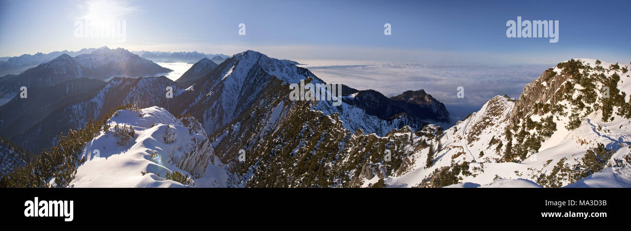 View from the 'Herzogstand' to the 'Heimgarten' (mountains), Bavarian pre-alps, Alpine foreland, alps, Bavarian uplands, Upper Bavaria, Bavaria, South Germany, Germany, - Stock Image