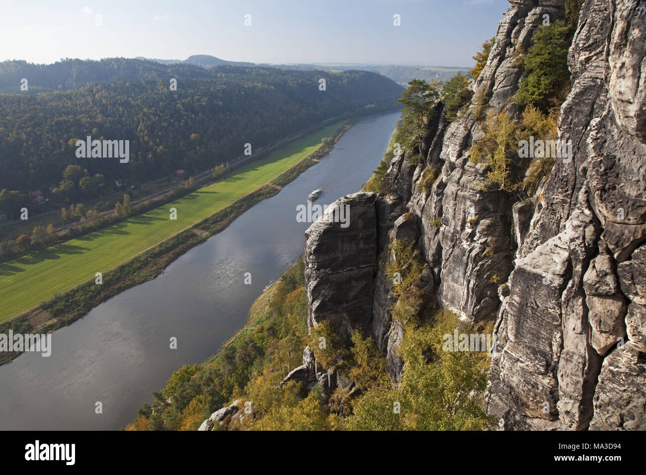 View from the bastion to the Elbe valley, Saxon Switzerland, Rathen, Saxony, Germany, Stock Photo
