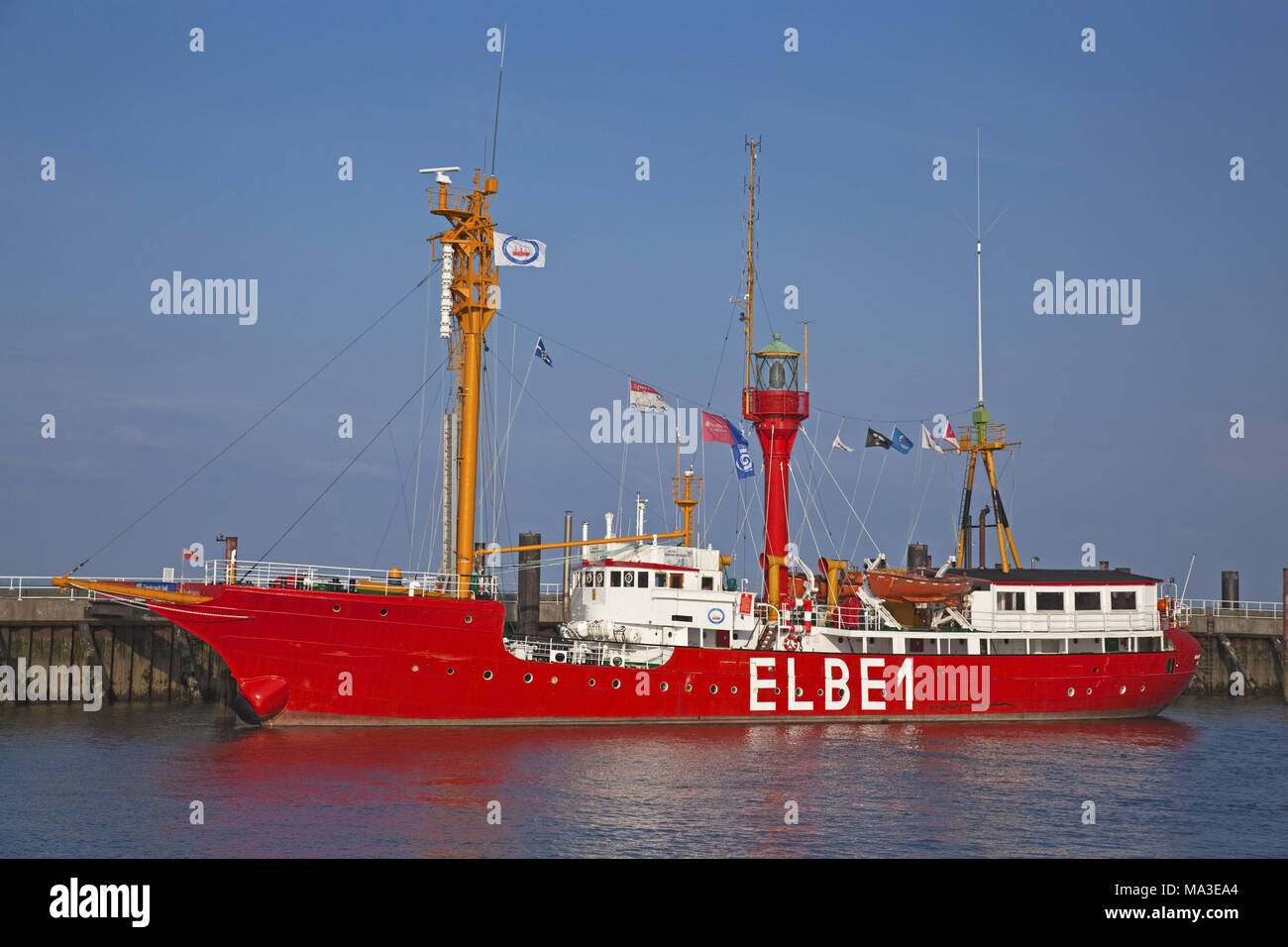 Lightship 'Elbe 1' at 'Alte Liebe' Cuxhaven, Lower Saxony, Germany, Europe, - Stock Image