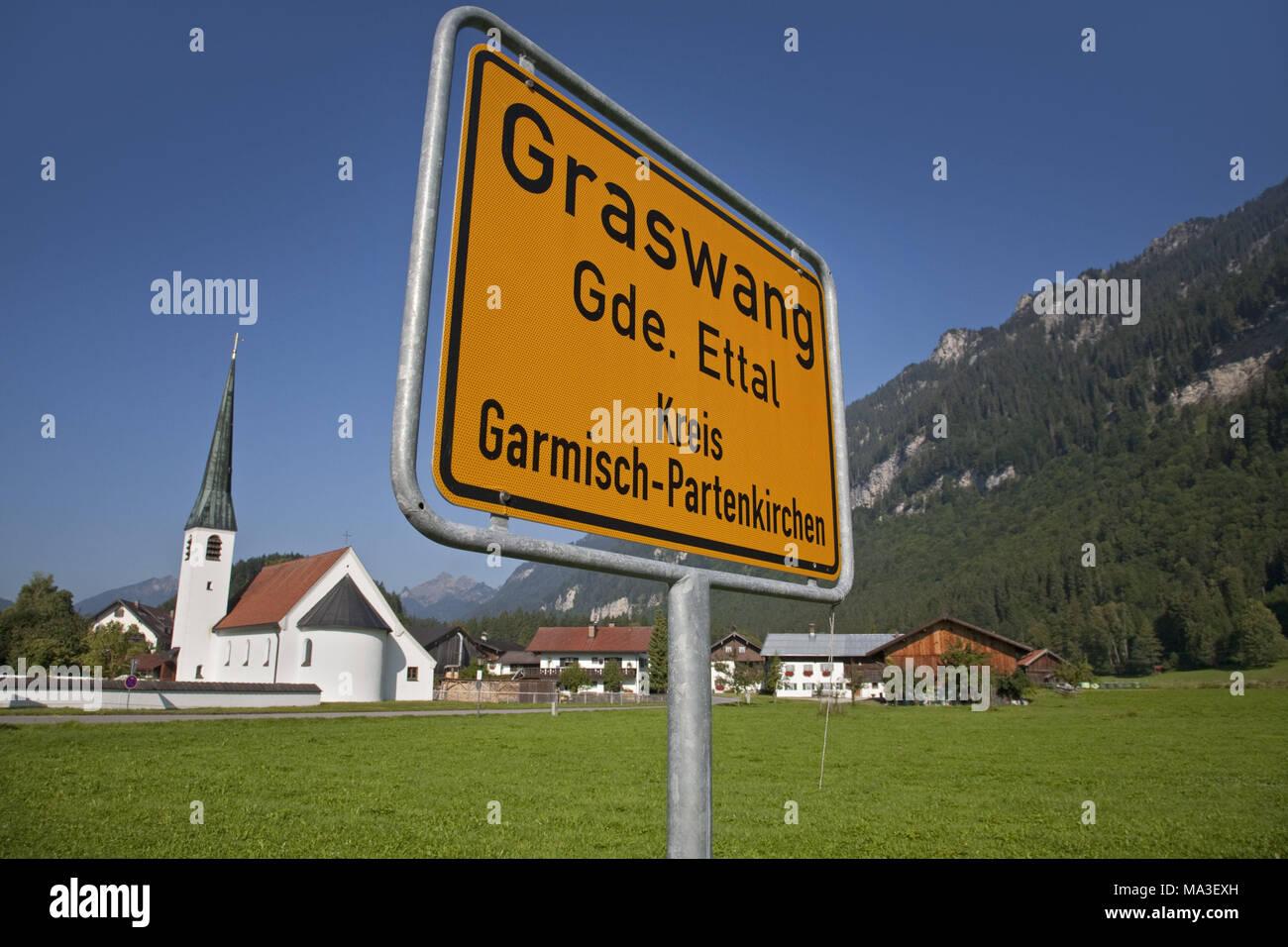 Church Maria Schutz in Graswang, Ettal, near Oberammergau, Upper Bavaria, Bavarians, Germany, - Stock Image