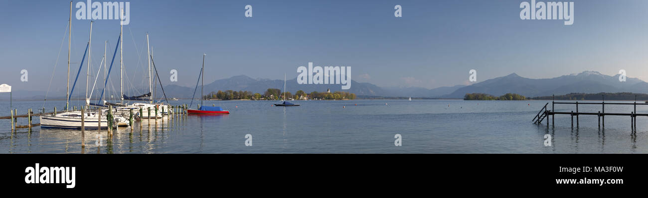 Frauenchiemsee in Chiemsee, Chiemgau, Gstadt, Upper Bavaria, Bavaria, South Germany, Germany, Stock Photo