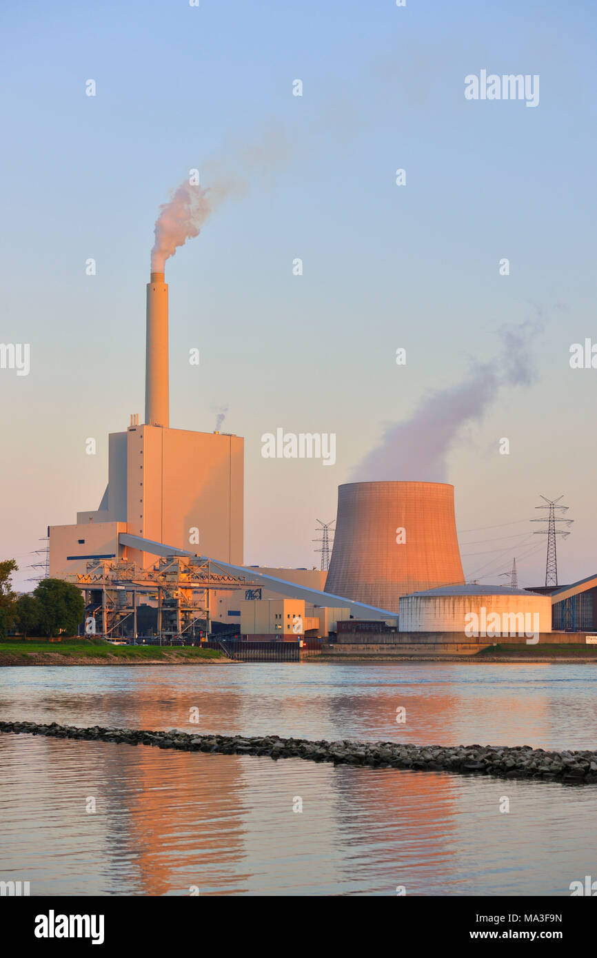 Germany, Baden-Wurttemberg, Karlsruhe, steam power plant, EnBW electricity and gas provider - Stock Image