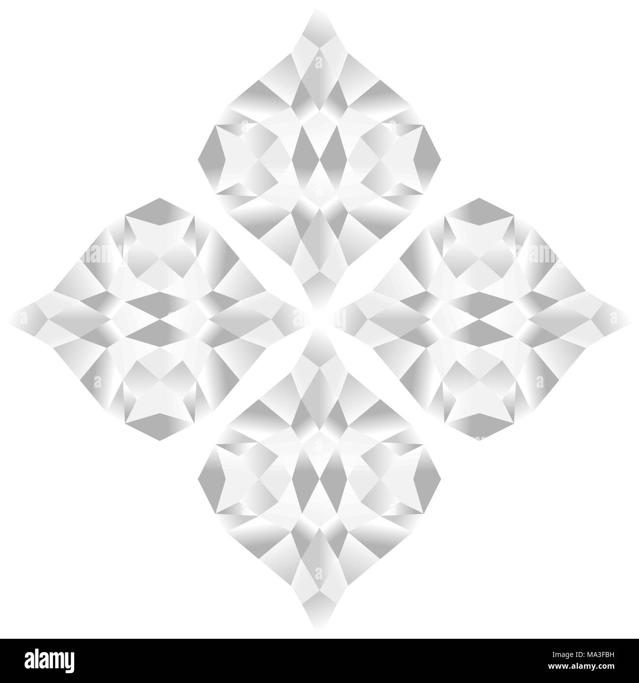 Abstract flower pattern of gradient black and white colors, isolated on white (transparent) background. Vector illustration, EPS10. - Stock Image