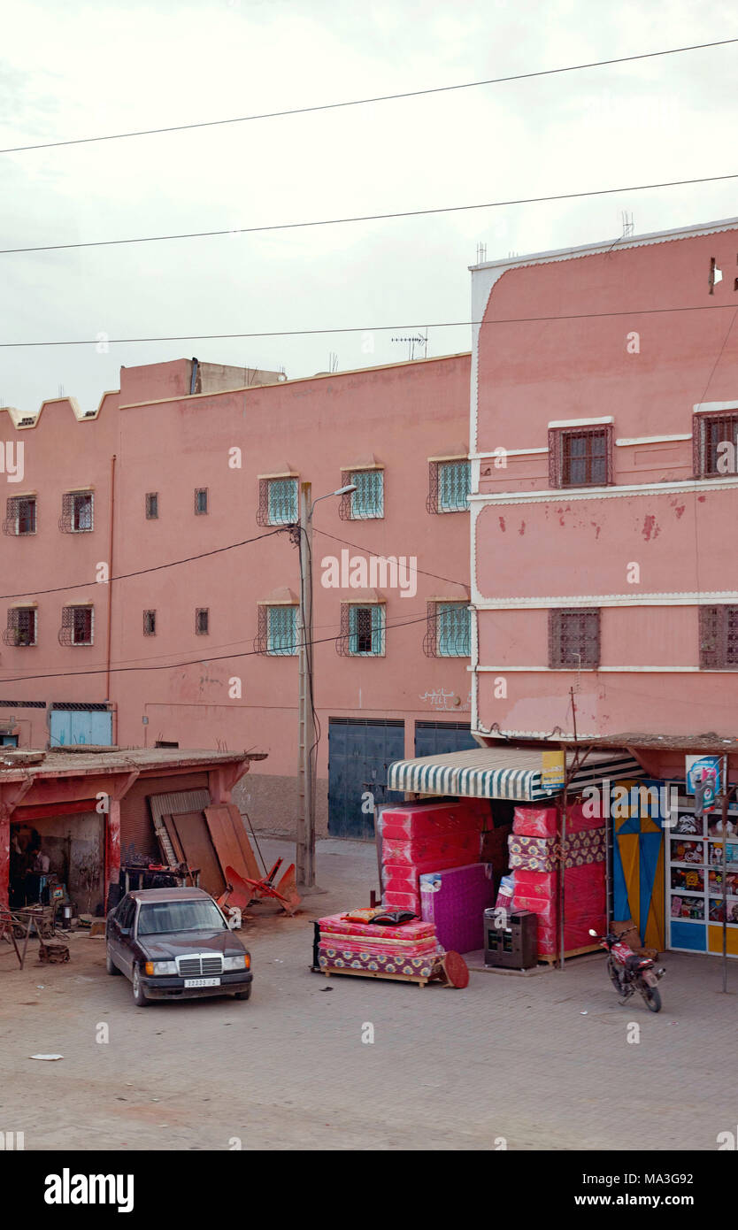 Court, houses, store, passenger car, Morocco - Stock Image