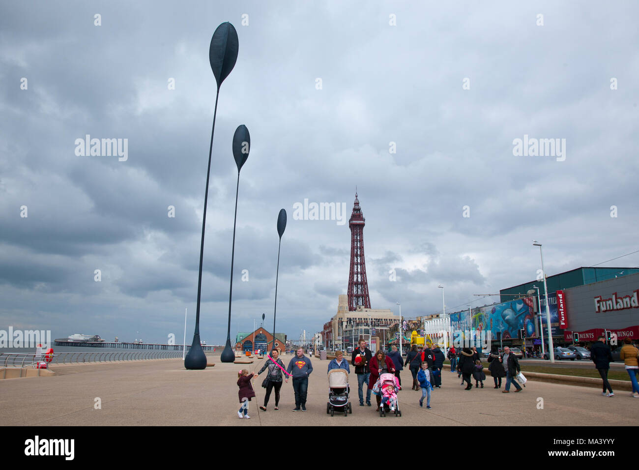 Easter holiday england beach stock photos easter holiday england blackpool lancashire uk 30th march 2018 uk weather grey overcast day negle Image collections