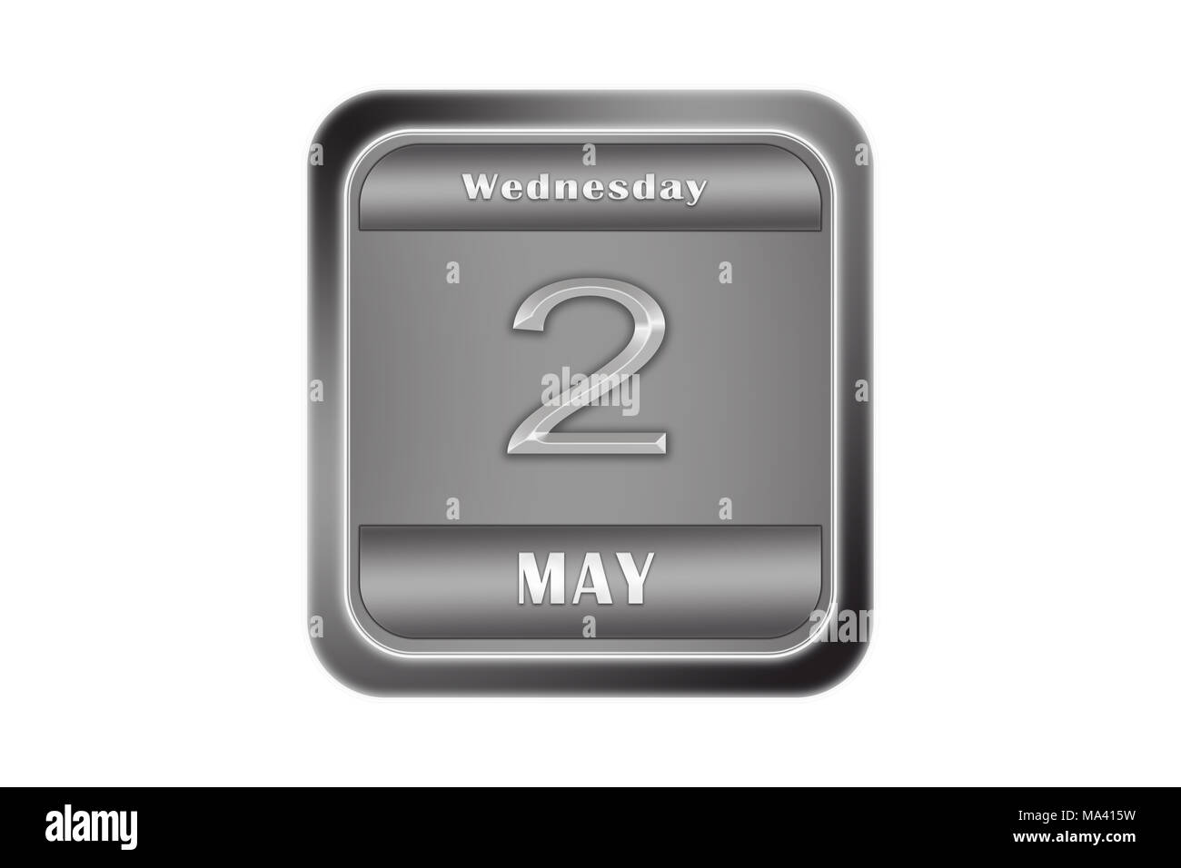 Date may 2, Wednesday written on a metal plate - Stock Image