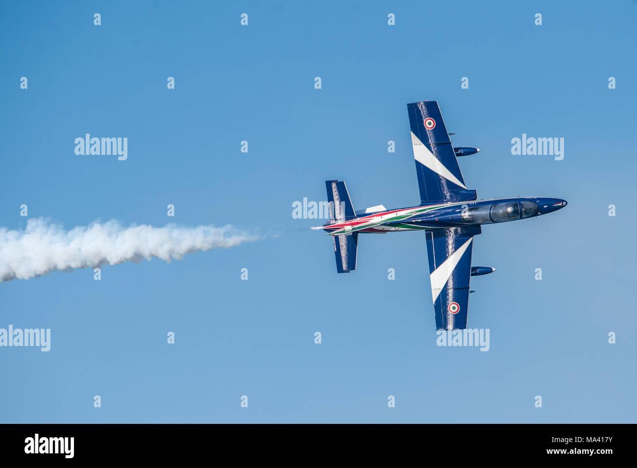Frecce Tricolori (Tricolour Arrows) - Italian acrobatic flight patrol - Aermacchi mb 339 - Airshow Alba Adriatica Italy - acrobatics in the sky Stock Photo
