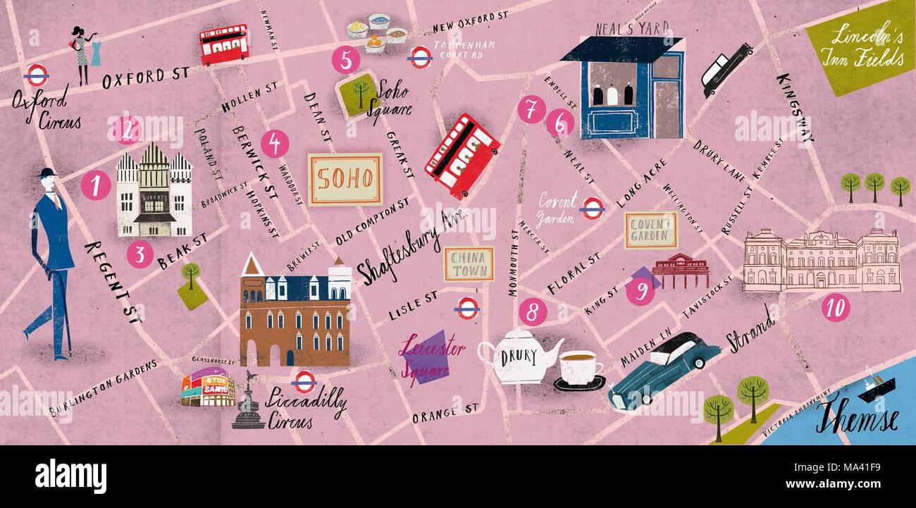 Map Soho London.A Map Of Soho London Stock Photo 178339261 Alamy
