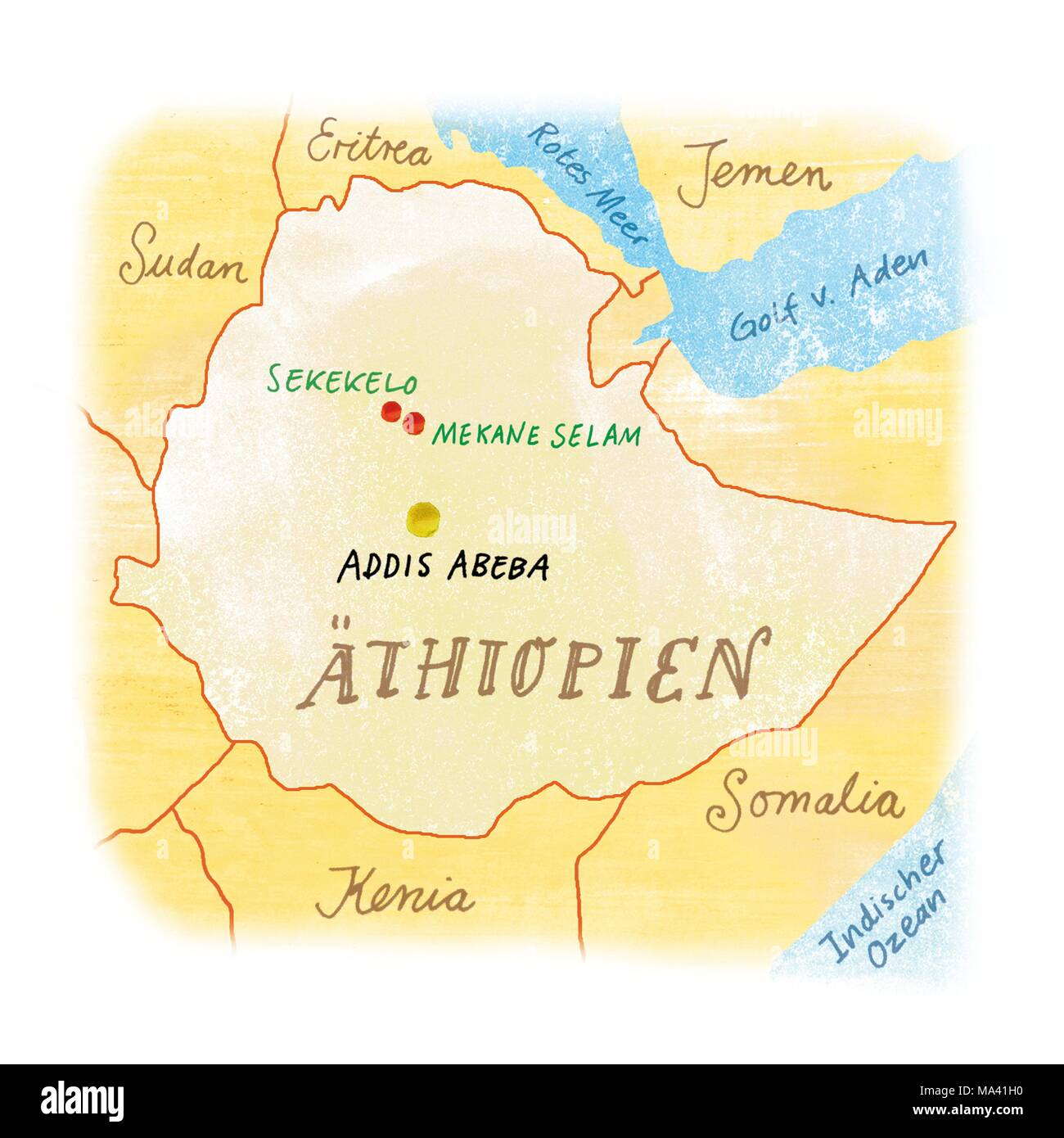 A map of Ethiopia - Stock Image