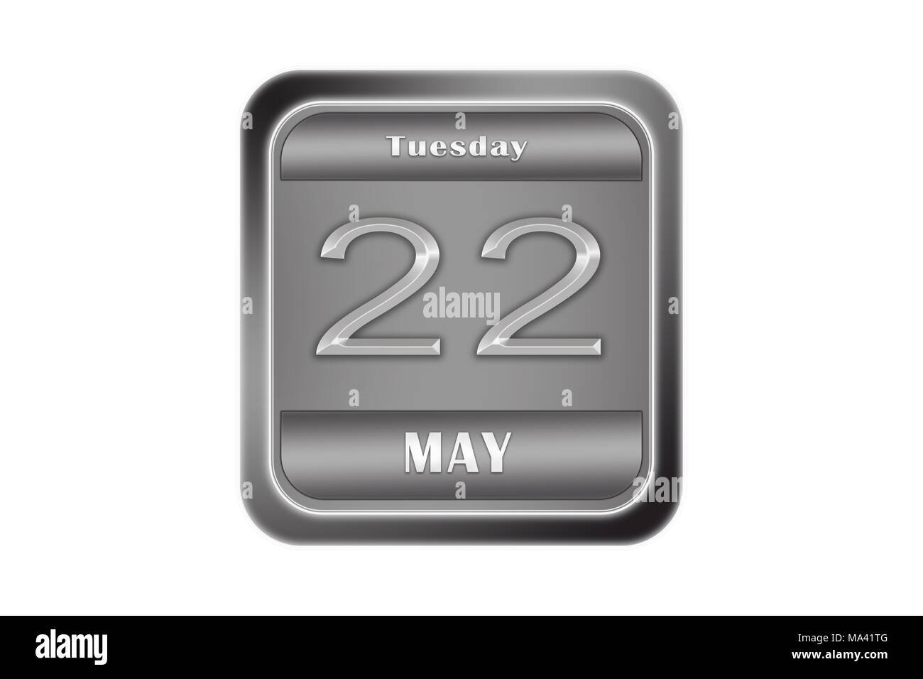 Date may 22, Tuesday written on a metal plate - Stock Image