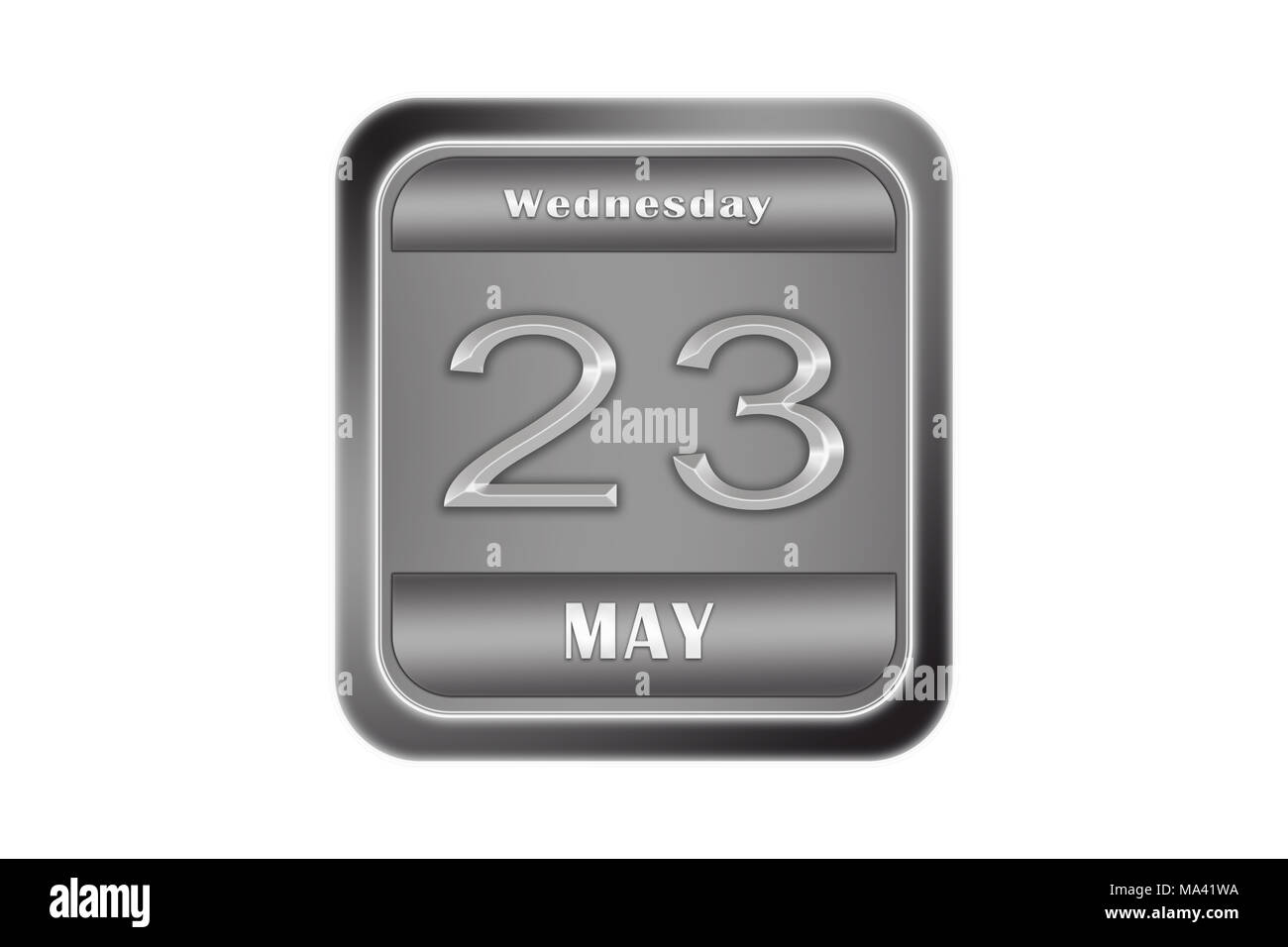 Date may 23, Wednesday written on a metal plate - Stock Image