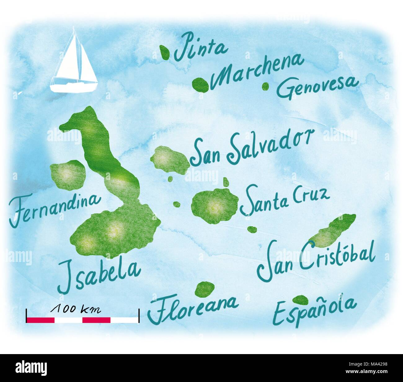 A map of the Galapagos islands in the East Pacific - Stock Image
