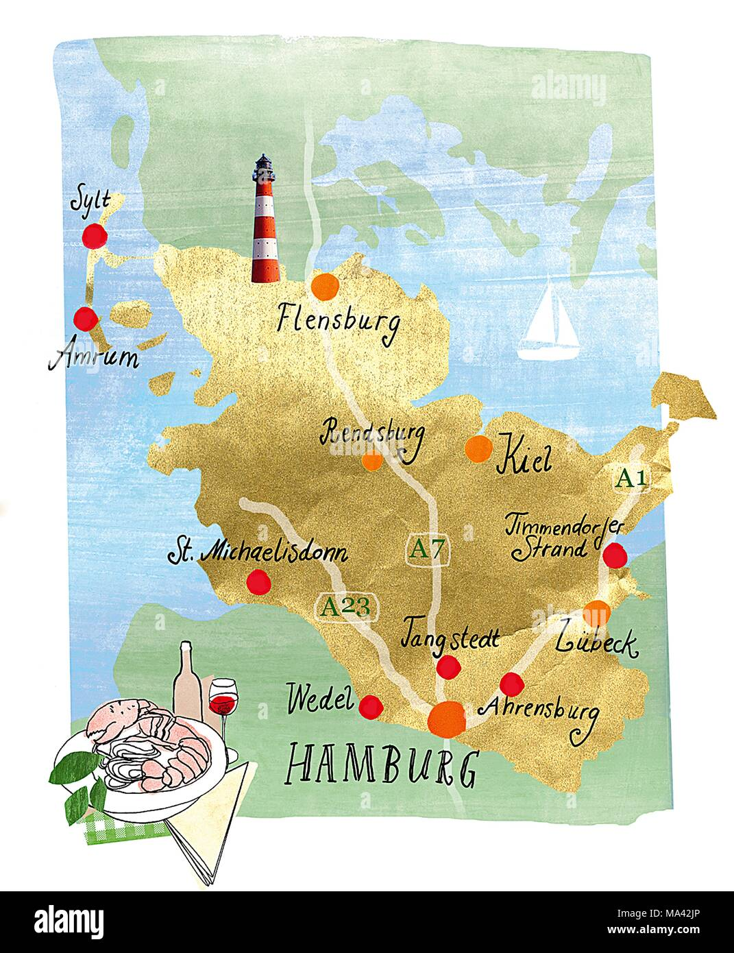 A handdrawn map of Hamburg and the local region in Northern Germany