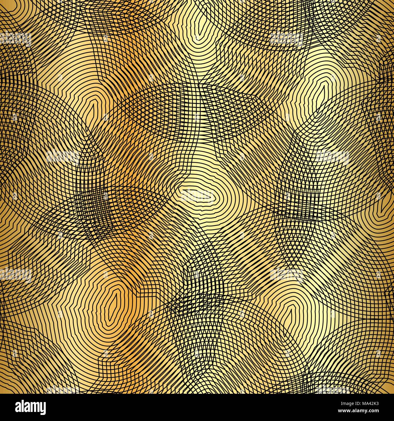 Vector monochrome seamless pattern, curved lines, black & gold background. Abstract dynamical rippled surface, visual halftone 3D effect, illusion of movement, curvature. Design for tileable print - Stock Vector