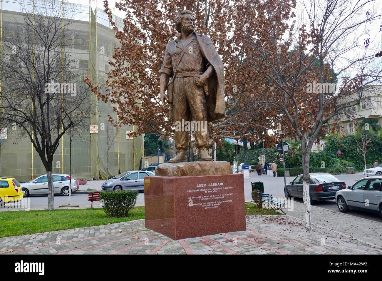 Monument of Adem Jashari, one of the founder of Kosovo Liberation Army in Tirana, Albania Stock Photo
