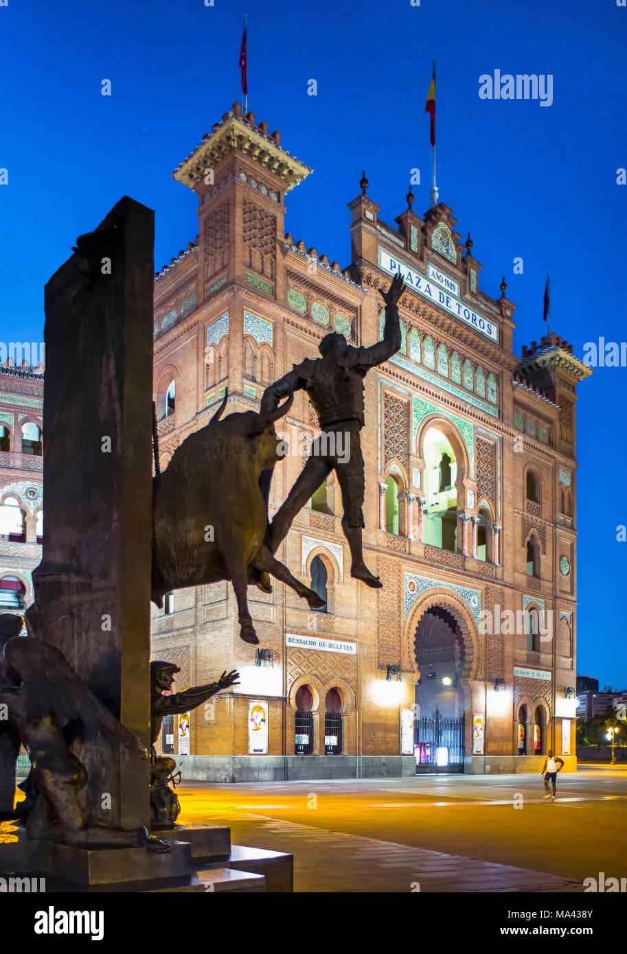 A bronze sculpture in front of the Plaza de Toros de Las Ventas bullfighting arena in Madrid, Spain - Stock Image
