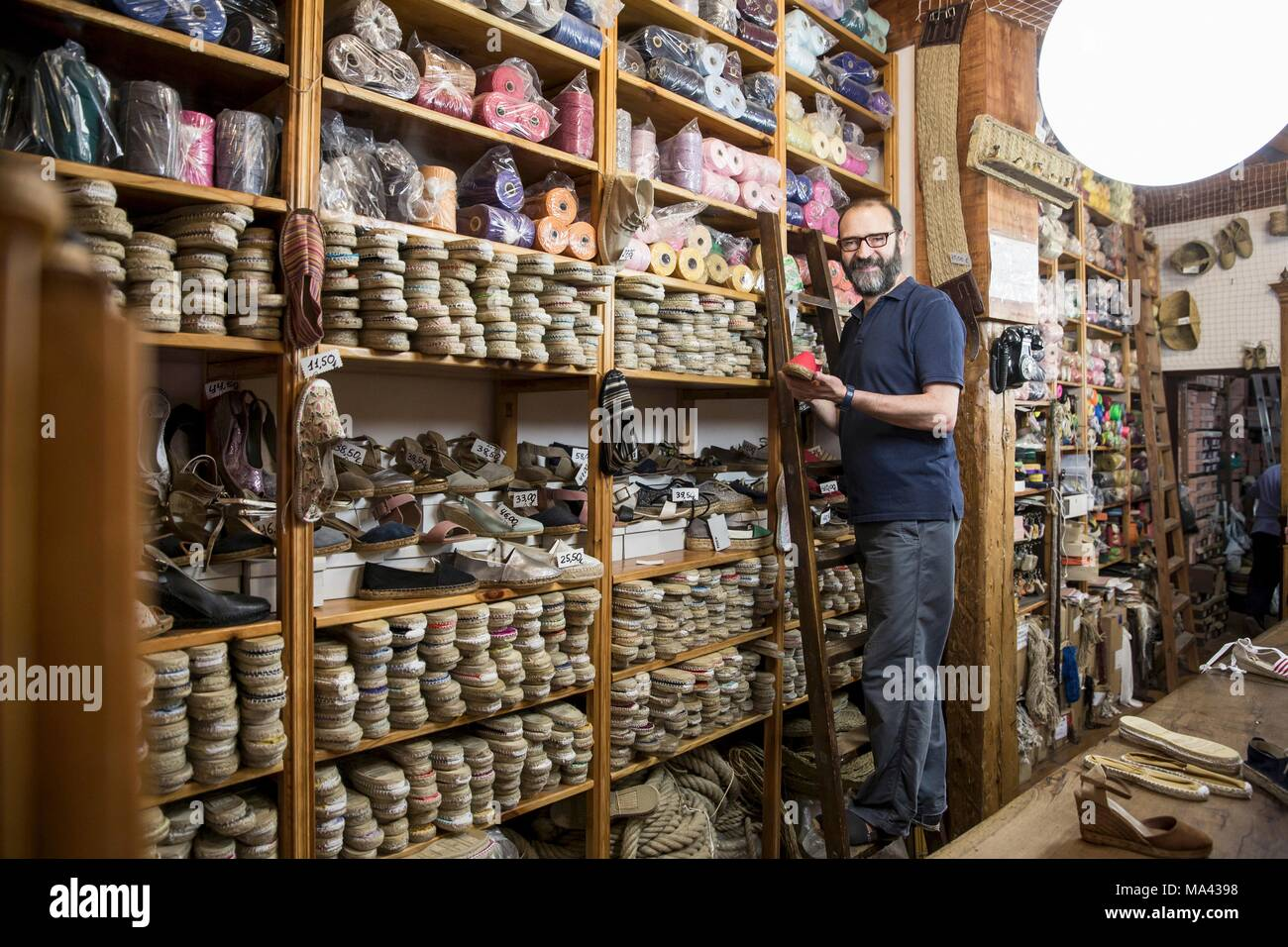 Jes s hernanz the owner of casa hernanz a shoe shop for espadrilles in madrid spain stock - Casa hernanz madrid ...