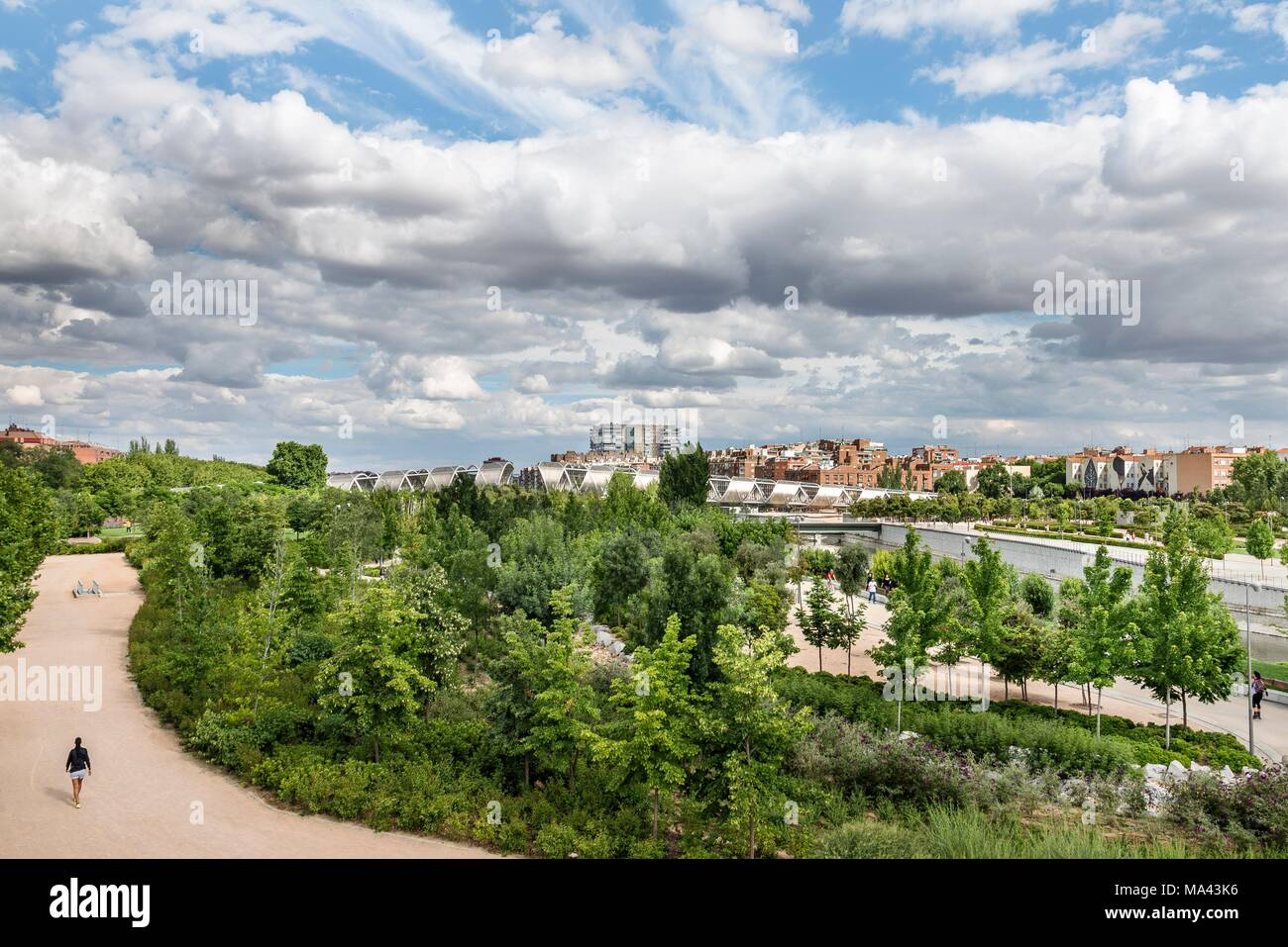 The Parque Madrid Río on the Manzanares River in Madrid, Spain Stock Photo