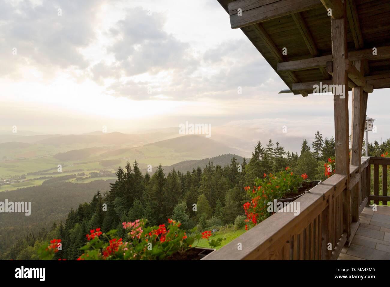 The mountain guesthouse on the Hohenbogen mountain range in Neukirchen beim Heiligen Blut in the Bavarian Forest, Germany - Stock Image