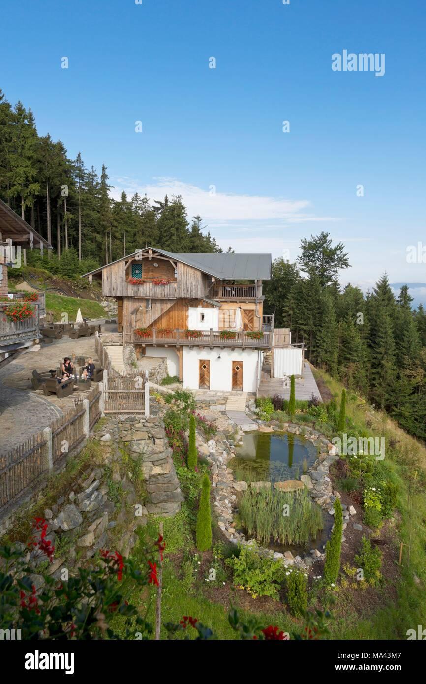 The 'Schönblick am Hohenbogen' mountain guesthouse in Neukirchen beim Heiligen Blut in the Bavarian Forest, Germany - Stock Image