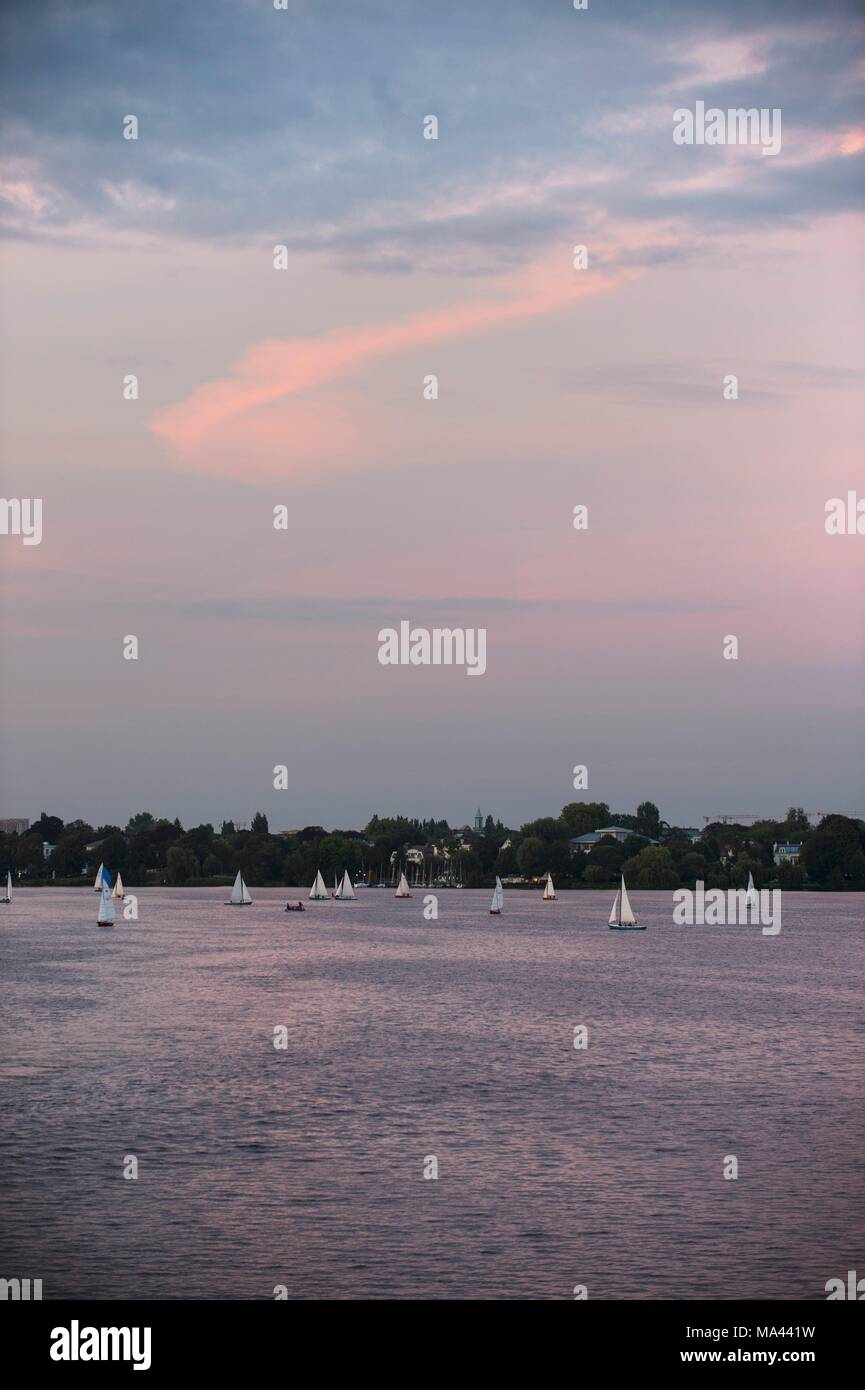 View of the Outer Alster with sailing boats in Hamburg, Germany Stock Photo