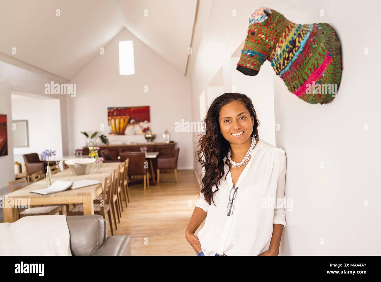 Simone Jacke from the Strandloper Ocean Boutique Hotel in Paternoster, a village on the West Coast of South Africa - Stock Image