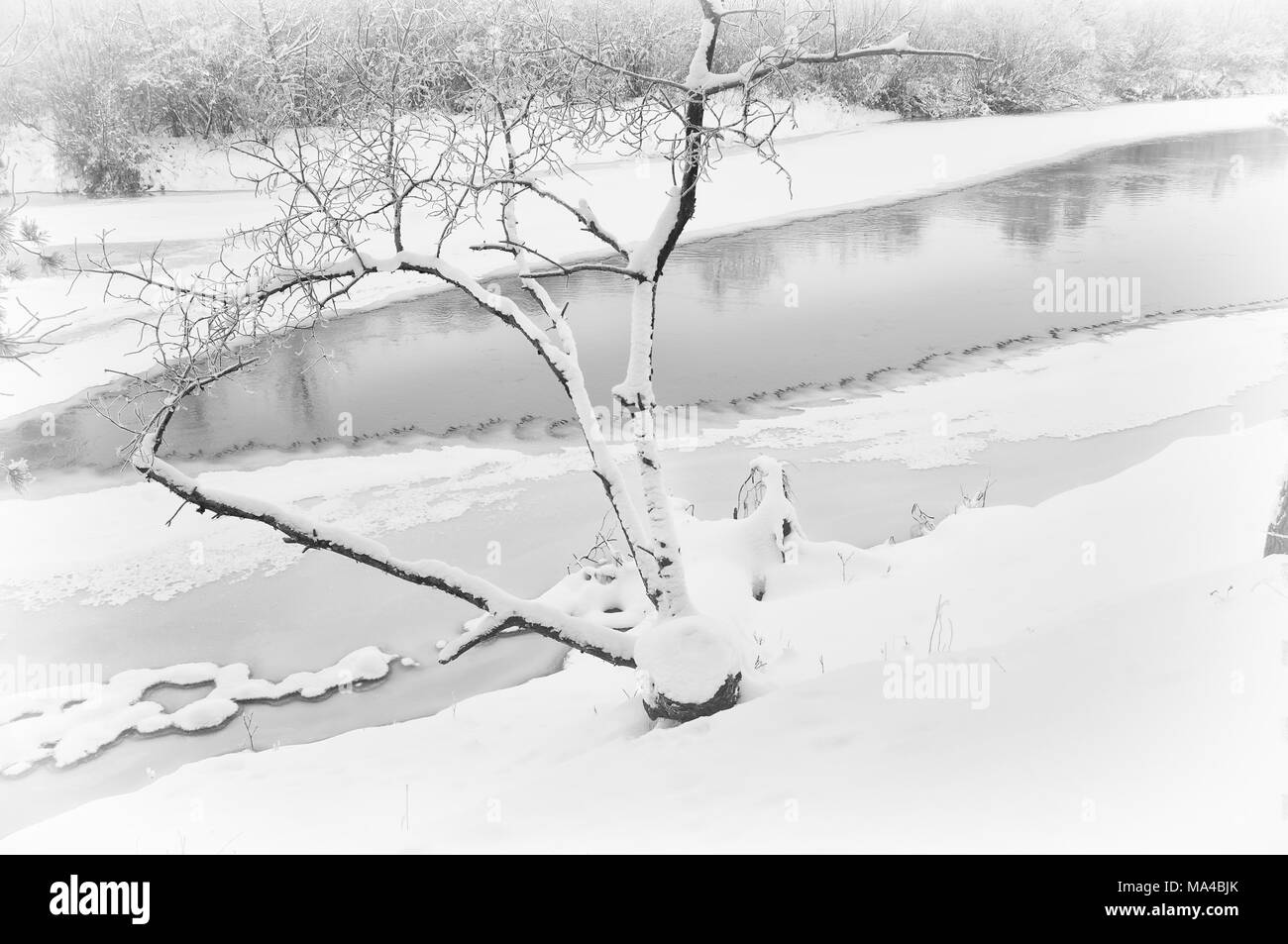 winter river ice-bound shores covered Stock Photo