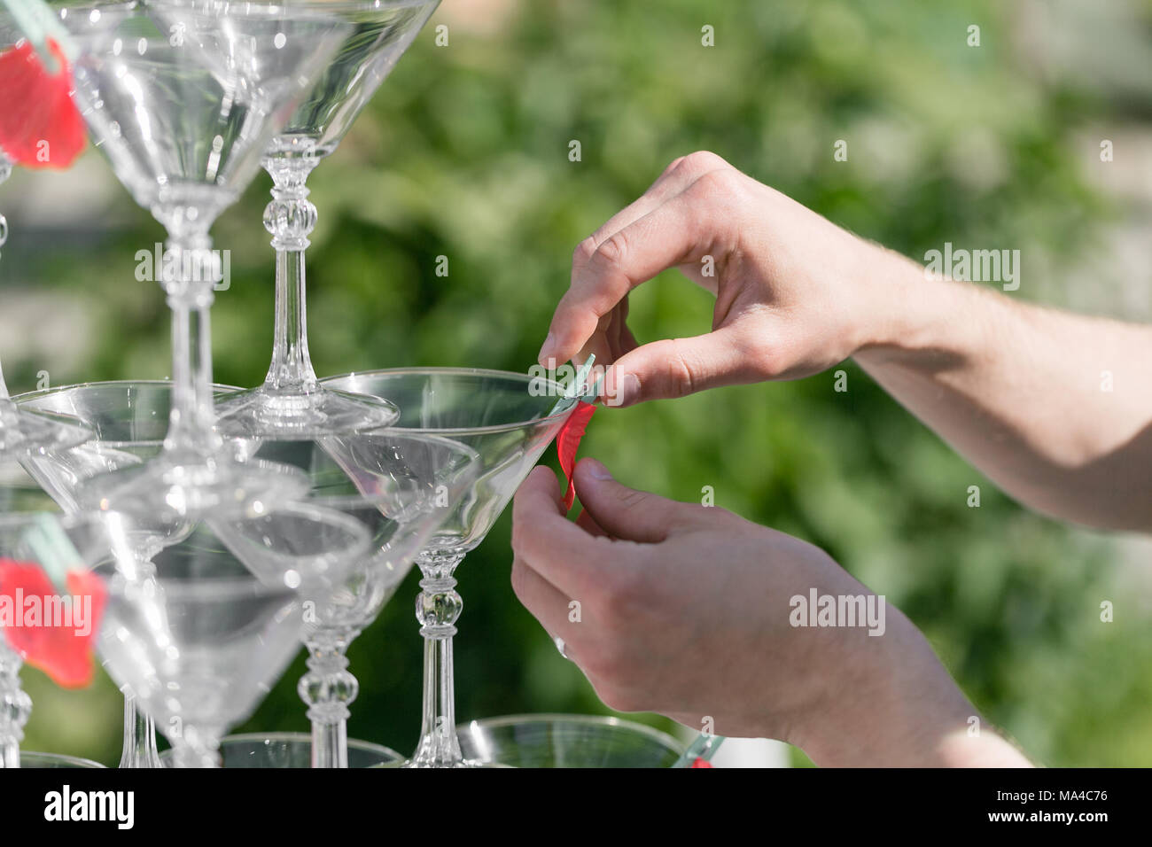 Hands of a waiter that makes out pyramid from glasses for drinks, wine, champagne, festive mood, celebration - Stock Image