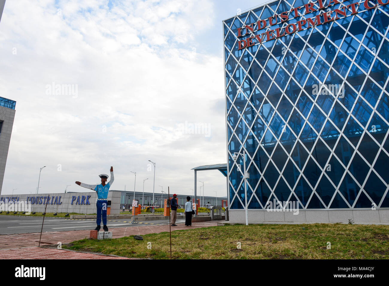 ETHIOPIA , Southern Nations, Hawassa or Awasa, Hawassa Industrial Park, chinese-built for the ethiopian government to attract foreign investors with low rent and tax free to establish a textile industry and create thousands of new jobs , main entrance gate with security check - Stock Image