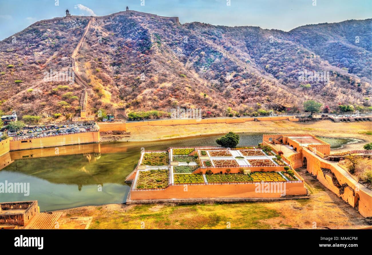 Aerial view of Kesar Kyari or Saffron Garden on Maota Lake. Amer - Jaipur, Rajasthan State of India - Stock Image