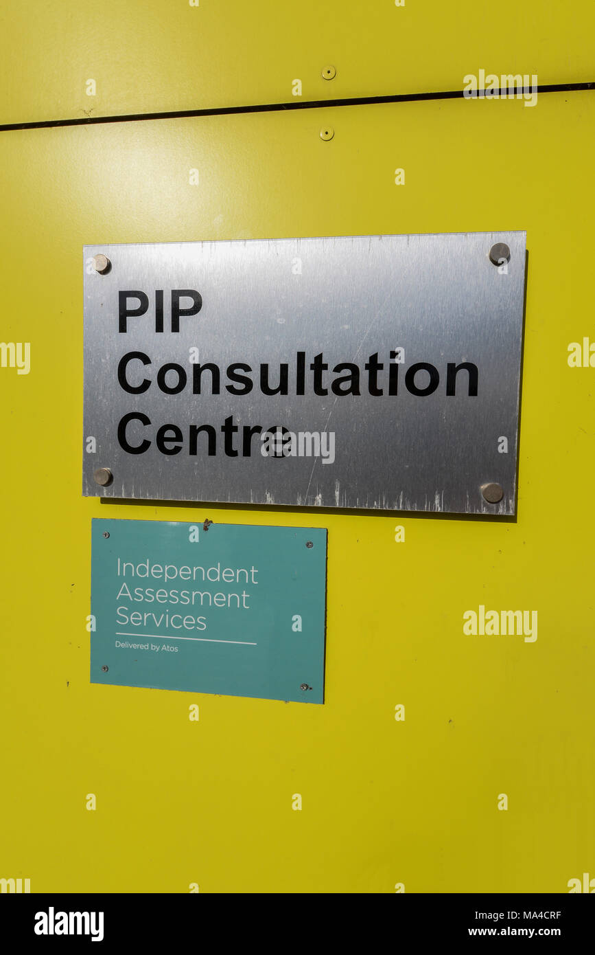 Personal Independence Payment PIP Consultation Centre. Independent Assessment Services delivered by Atos. Southend on Sea, Essex, UK. Sign Stock Photo